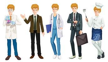 Um conjunto de uniforme de ocupação masculina vetor