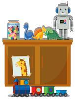 Brinquedo e armário fundo branco vetor
