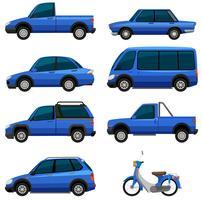 Diferentes tipos de transporte na cor azul