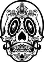 silhueta mexicana do mascote da tatuagem do crânio vetor