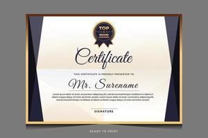 certificado de modelo de agradecimento com emblema de ouro. vetor