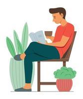 homem gosta de ler enquanto bebe um pouco de café. vetor