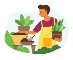 homem gosta de atividade de jardinagem com as plantas no jardim. vetor