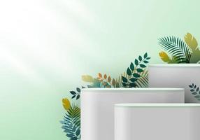 Pedestal branco realista 3D em pano de fundo verde hortelã vetor