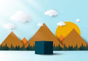Pódio de pedestal em forma de cubo azul realista 3D com paisagem natural vetor