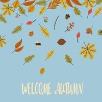 cartão postal de saudação de outono com vetor de licença caindo