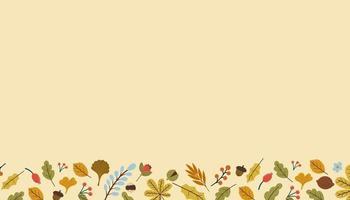 fundo do vetor com moldura das folhas de outono