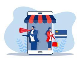 empresa promove loja de loja em smartphone, compras online vetor