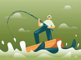 pescador pescando em vetor de conceito de ilustração de barco