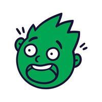 rosto abstrato redondo com emoções assustadas. avatar emoji assustado. vetor