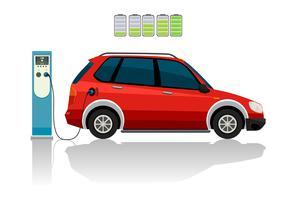 Um carro elétrico vermelho vetor