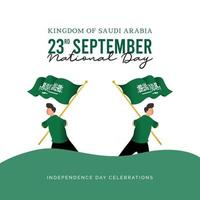 modelo de banner da Arábia Saudita. comemorações do dia nacional. vetor