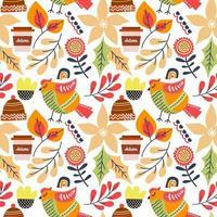 folhas de outono e pássaro sem costura padrão vetor