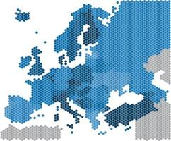 geometria hexágono forma do mapa da europa em fundo branco vetor