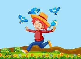Um fazendeiro feliz com pássaros vetor
