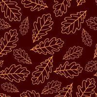padrão sem emenda com folhas de carvalho de outono. vetor