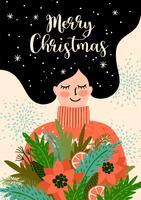 Ilustração de Natal e feliz ano novo. Estilo retro moderno. vetor