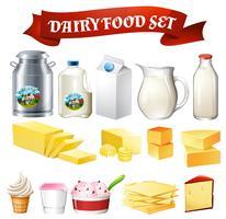 Conjunto de alimentos de produtos lácteos vetor