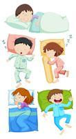 Um conjunto de crianças dormindo vetor