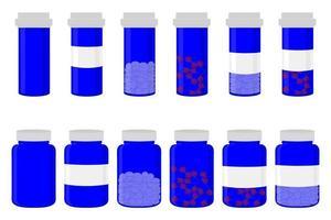 ilustração sobre o tema grande conjunto colorido de diferentes tipos de pílulas vetor