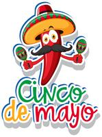 Modelo de etiqueta para Cinco de Mayo com pimentão vermelho vetor