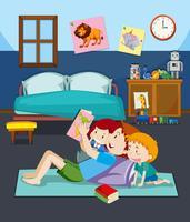 pai e filhos a ler um livro vetor