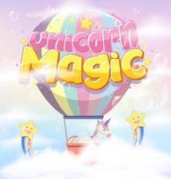 Fonte mágica unicórnio com balão em fundo pastel vetor