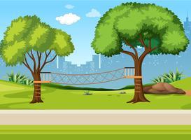Um playground de ponte de corda vetor