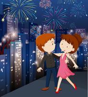 Um casal comemorando na cidade vetor