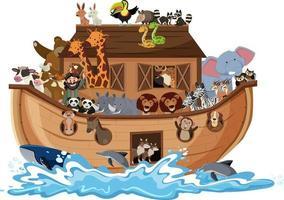 arca de noé com animais na onda de água isolada no fundo branco vetor