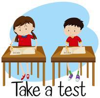 Os alunos estão fazendo um teste vetor
