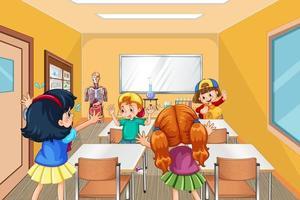 alunos brincando juntos durante o intervalo na sala de aula vetor