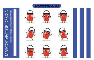 imagens de mascote do conjunto de balde. vetor livre