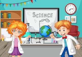 alunos fazendo experimentos de química na sala de aula vetor