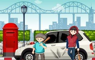 Bad street kids e carros quebrados vetor
