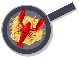 Lagosta de espaguete na panela vetor