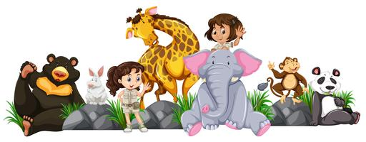 Safari garotas e animais selvagens vetor