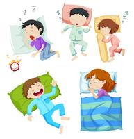 Meninos e meninas dormindo na cama vetor