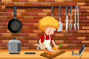 Um jovem cozinhando na cozinha vetor