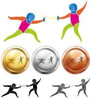 Esgrima icon e medalhas esportivas vetor