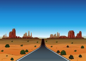 Viagem por estrada pelo deserto vetor