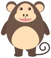 Macaco marrom com cara feliz vetor