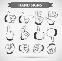 Gestos de mão diferentes no fundo branco vetor