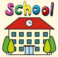 Edifício escolar com relógio no telhado vetor