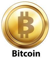 Bitcoin com moedas de ouro sobre fundo branco vetor