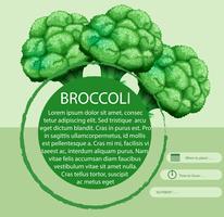 Brócolis fresco com design de texto vetor