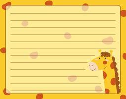 Design de papel linha com girafa vetor