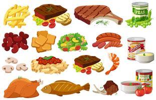Diferentes tipos de alimentos saudáveis vetor