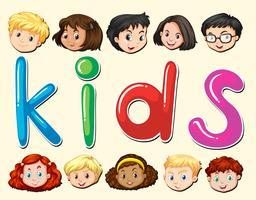 Crianças, com, feliz, rosto