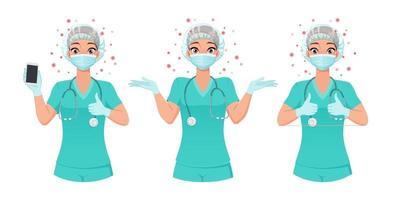 enfermeira com máscara de chapéu e luvas em várias poses ilustração vetorial vetor
